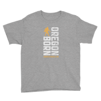 Oregon Born Vertical w/ Bigfoot (Gold & White) - Youth Short Sleeve T-Shirt - Oregon Born