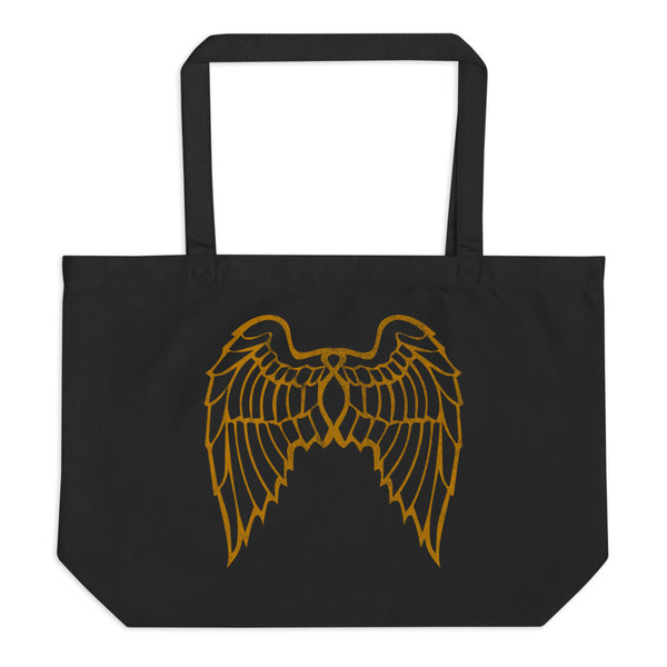 """She Flies"" State Motto with Wings (Double Sided) - Large Organic Tote Bag - Oregon Born"