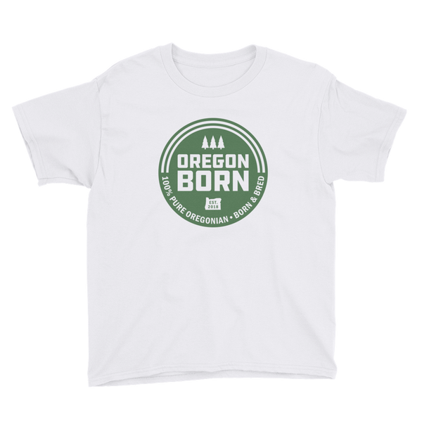 'Oregon Born' Round Logo - Green Fill - Unisex Youth Tee - Oregon Born