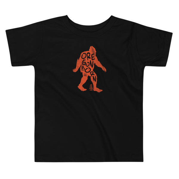"Oregon Born -""Bigfoot"" in Orange - Toddler Short Sleeve Tee - Oregon Born"