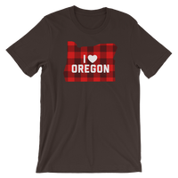 "I Heart Oregon ""Buffalo Plaid"" - Short-Sleeve Unisex T-Shirt - Oregon Born"