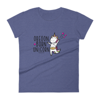 """Oregon Born Unicorn"" - Women's Short Sleeve T-Shirt - Oregon Born"
