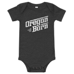Oregon Born - Retro/Slant in White - Onesie - Oregon Born