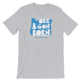 "Oregon Born ""Handcrafted"" in Blue - Short-Sleeve Unisex T-Shirt - Oregon Born"