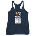Oregon Born Vertical w/ Bigfoot (Gold & White) - Women's Racerback Tank