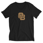 Oregon Born Monogram - GOLD STANDARD - Unisex Short Sleeve V-Neck T-Shirt