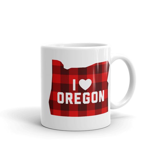 "I Heart Oregon ""Buffalo Plaid"" - Mug - Oregon Born"