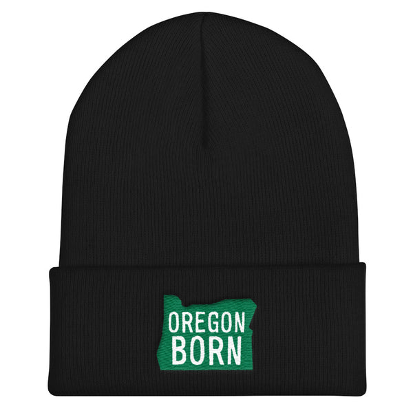 'Oregon Born' Logo (Green & White) - Knit Beanie - Oregon Born