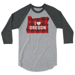 "I Heart Oregon ""Buffalo Plaid"" - 3/4 Sleeve Raglan Shirt - Oregon Born"