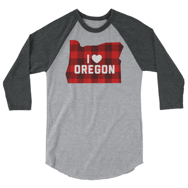 "I Heart Oregon ""Buffalo Plaid"" - 3/4 Sleeve Raglan Shirt"