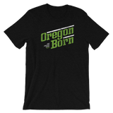 Oregon Born - Retro/Slant in Green & White - Short-Sleeve Unisex Tee - Oregon Born