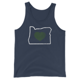 "Oregon ""Heart"" -  Unisex Jersey Tank with Tear Away Label - Oregon Born"