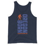 Oregon Born Vertical w/ Bigfoot (Blue & Orange) - Unisex  Tank Top - Oregon Born