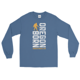 Oregon Born Vertical w/ Bigfoot (Gold & White) - Long Sleeve Tee - Oregon Born