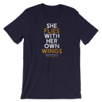 """She Flies"" State Motto with Wings - Short-Sleeve Unisex T-Shirt - Oregon Born"