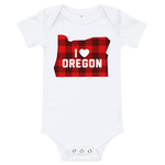 "I Heart Oregon ""Buffalo Plaid"" - Onesie - Oregon Born"