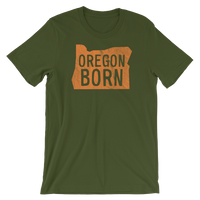 'Oregon Born' Logo in Orange - Unisex Tee - Oregon Born