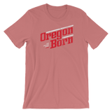 Oregon Born - Retro/Slant in Red & White - Short-Sleeve Unisex T-Shirt - Oregon Born