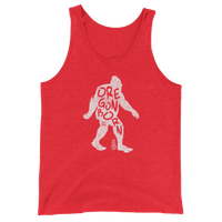 'Oregon Born Bigfoot' in White - Unisex Tank Top - Oregon Born