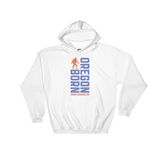 Oregon Born Vertical w/ Bigfoot (Blue & Orange) - Hooded Sweatshirt - Oregon Born