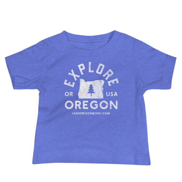 """Explore Oregon"" in White - Baby Jersey Short Sleeve Tee - Oregon Born"