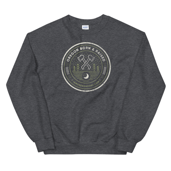 "Oregon ""Born & Raised"" Round - Unisex Sweatshirt - Oregon Born"