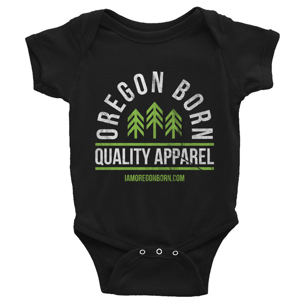 "Oregon Born ""Quality Apparel 2"" in Green & White - Infant Bodysuit - Oregon Born"