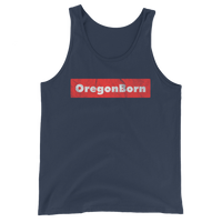 Oregon Born - Red Box - Unisex Jersey Tank with Tear Away Label - Oregon Born