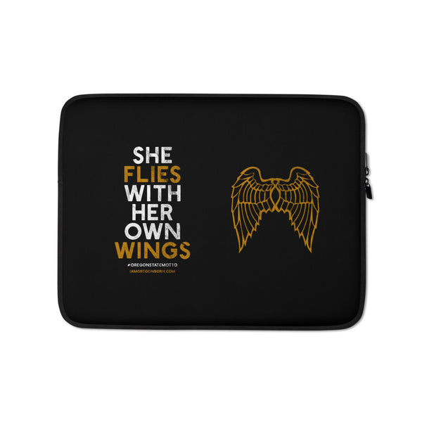 """She Flies"" State Motto with Wings -Laptop Sleeve - Oregon Born"