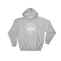 'Oregon Born' Round Logo in White - Hooded Sweatshirt - Unisex - Oregon Born