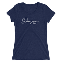 Oregon Born - Script - Ladies' Short Sleeve Tee - Oregon Born