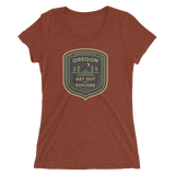 "Oregon Born - ""Get Out and Explore 2"" - Ladies' Short Sleeve T-Shirt - Oregon Born"