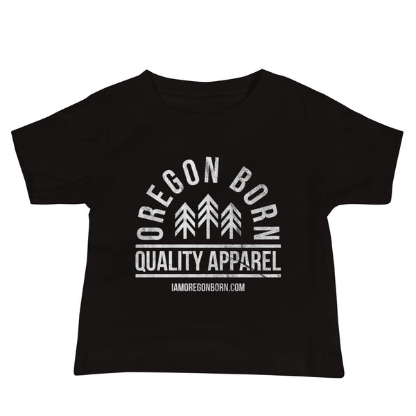 "Oregon Born ""Quality Apparel 2"" in White - Baby Jersey Short Sleeve Tee - Oregon Born"