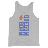 Oregon Born Vertical w/ Bigfoot (Blue & Orange) - Unisex  Tank Top
