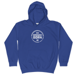 'Oregon Born' Round Logo in White - Kids Hoodie