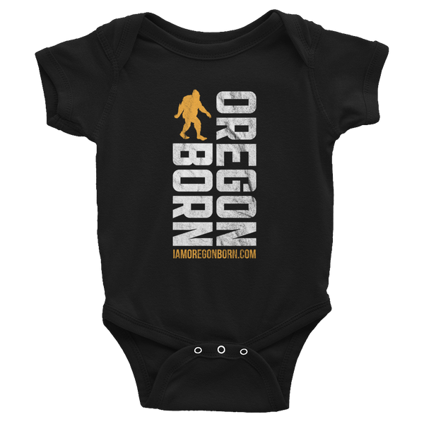 Oregon Born Vertical w/ Bigfoot (Gold & White) - Infant Bodysuit - Oregon Born