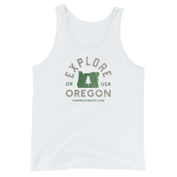 """Explore Oregon"" - Unisex  Tank Top - Oregon Born"