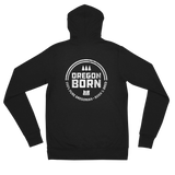 'Oregon Born' Round Logo in White - Lightweight Zip Hoodie - Unisex - Oregon Born