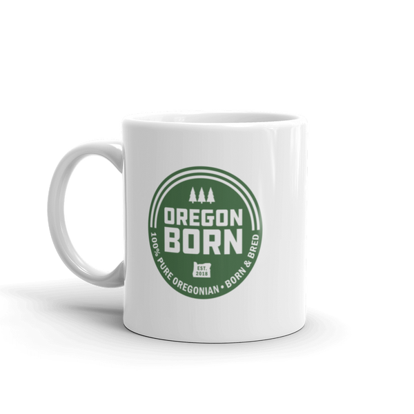 'Oregon Born' Round Logo - Ceramic Mug - Oregon Born