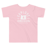 """Explore Oregon"" in White - Toddler Short Sleeve Tee - Oregon Born"