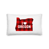 "I Heart Oregon ""Buffalo Plaid"" - Premium Pillow - Oregon Born"