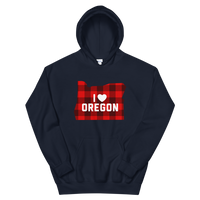 "I Heart Oregon ""Buffalo Plaid"" - Unisex Hoodie - Oregon Born"