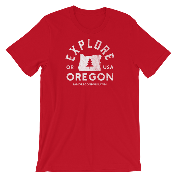 """Explore Oregon"" in White - Short-Sleeve Unisex T-Shirt - 3 - Oregon Born"
