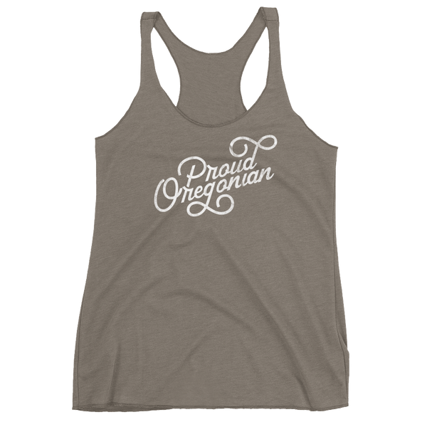 """Proud Oregonian"" - Women's Racerback Tank - Oregon Born"