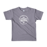 'Oregon Born' Round Logo in White - Unisex Kids Tee - Oregon Born