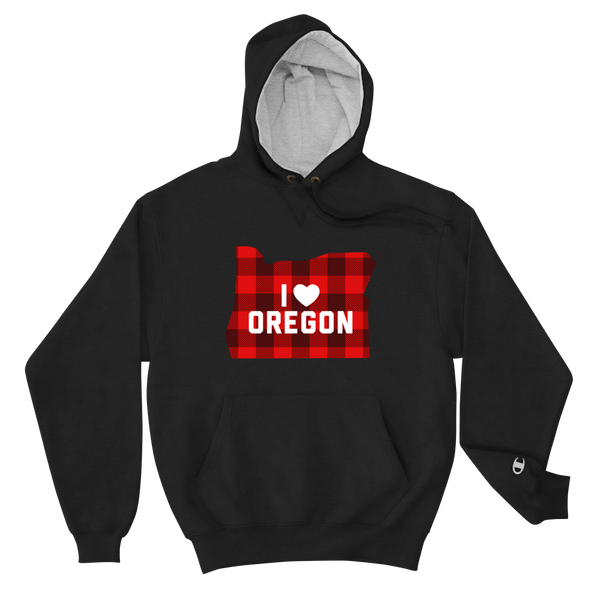 "I Heart Oregon ""Buffalo Plaid"" - Champion Hoodie - Oregon Born"