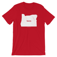 """Born"" - (White Ink) - Short-Sleeve Unisex T-Shirt - Oregon Born"