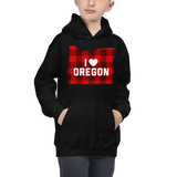 "I Heart Oregon ""Buffalo Plaid"" - Kids Hoodie - Oregon Born"