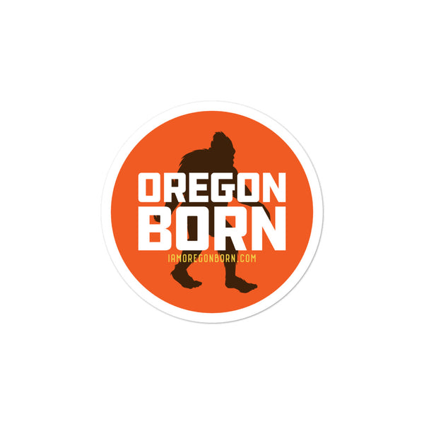 Oregon Born - Bigfoot in Orange Circle - Bubble-Free Stickers - Oregon Born