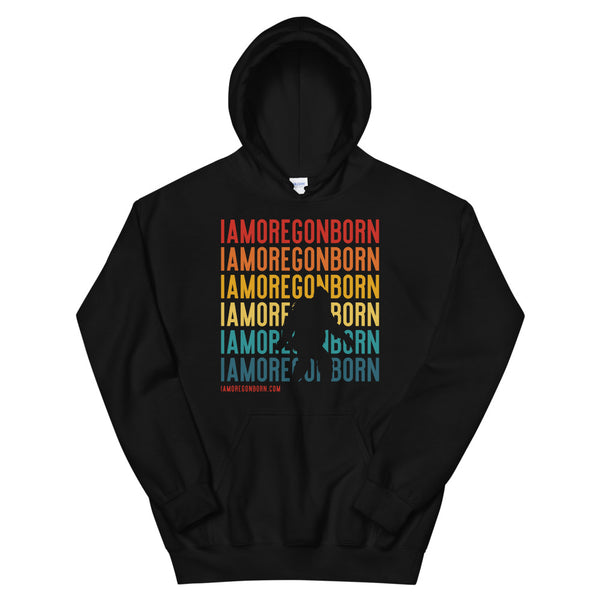 IAMOREGONBORN (Vintage Sunset w/ Bigfoot) - Unisex Hoodie - Oregon Born